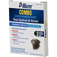 D-Worm Combo De-Wormer, Medium-Large Dogs Over 25 lbs, 2 Chew Tablets